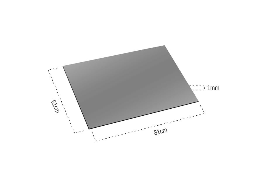 1mm Ayna Pleksi Gümüş - Yapışkanlı 81x61 Cm