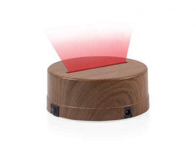 - 3D Gece Lamba Kaidesi - Ahşap - Led Rengi - Kırmızı