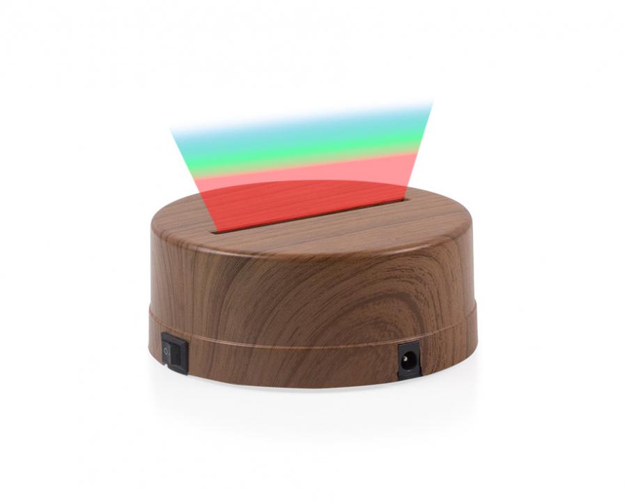 3D Gece Lamba Kaidesi - Ahşap - Led Rengi - RGB