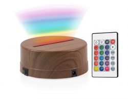 - 3D Gece Lamba Kaidesi - Ahşap - RGB - Kumandalı