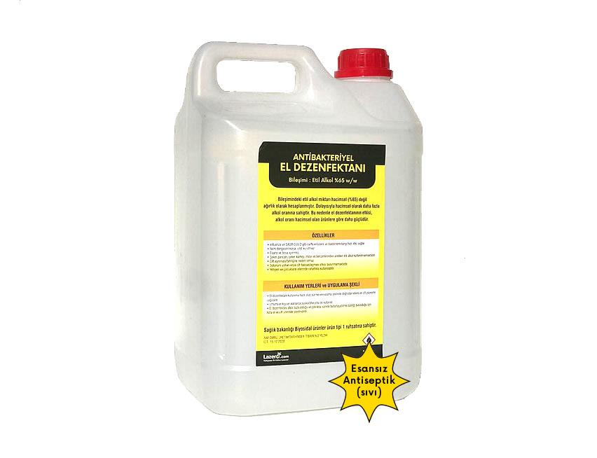 Antibakteriyel El Dezenfektanı 5 Litre Sıvı (Esans İçermez)