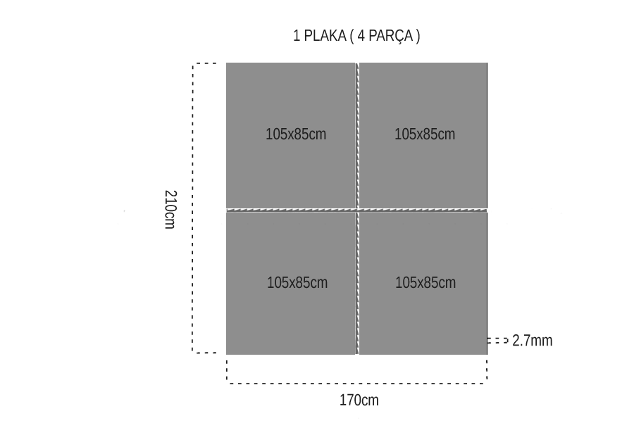 Armut Tek Yüz 2.7mm Mdf 105x85cm (4 Parça)