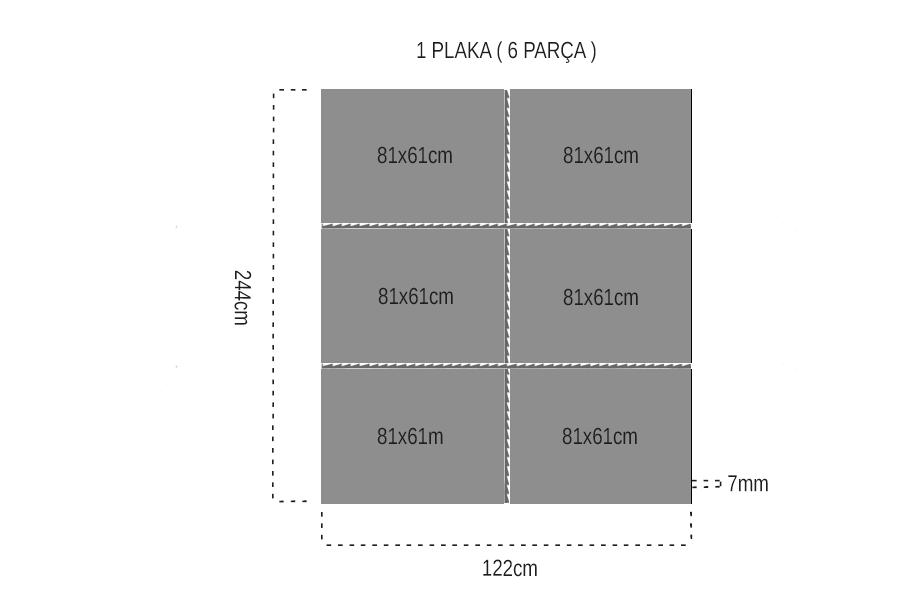 Esnek 7 mm fromaje kontrplak 61x83cm ( 6 parça )