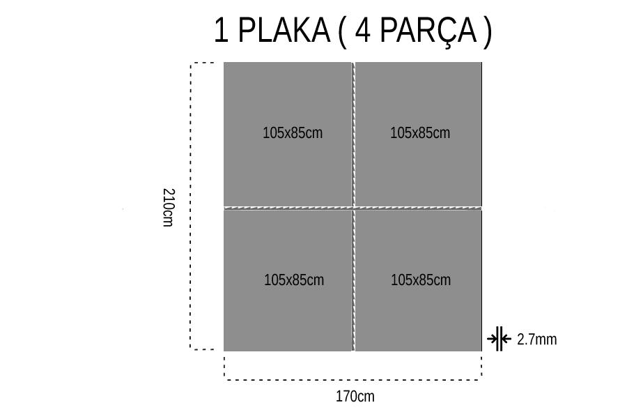 Gediz Tek Yüz 2.7mm Mdf 105x85Cm (4 Parça)