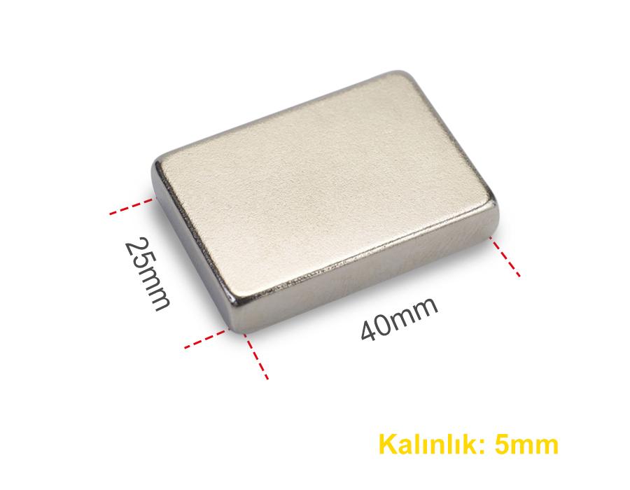 Neodyum Mıknatıs 40x25x5mm