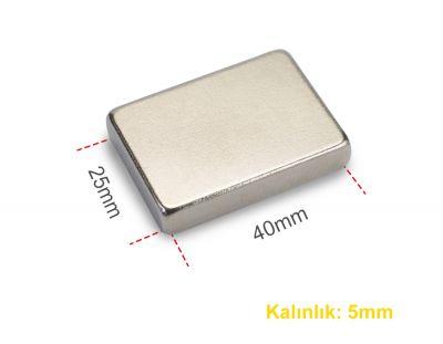 - Neodyum Mıknatıs 40x25x5mm