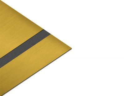 - Abs Lazer kazıma plakası Satine Altın-Siyah Fırcalı Mat 0.8mm 60x40 Cm