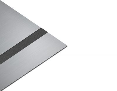 - Abs Lazer kazıma plakası Satine Gümüş-Siyah Fırcalı Mat 0.8mm 60x40cm