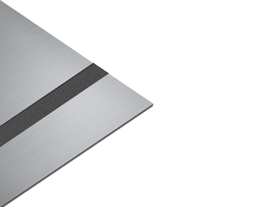 Rezopal Abs Lazer kazıma plakası Satine Gümüş-Siyah Fırcalı Mat 0.8mm