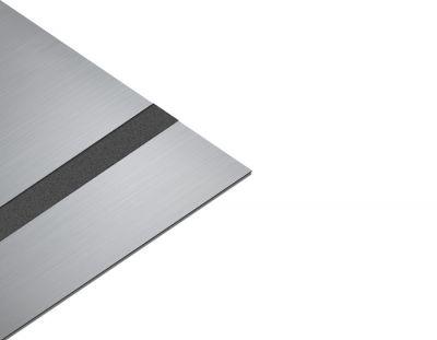 - Rezopal Abs Lazer kazıma plakası Satine Gümüş-Siyah Fırcalı Mat 0.8mm