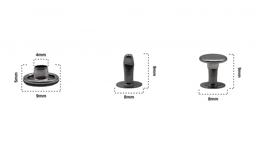 Rivet Siyah Nikel Renk Çap: 9mm