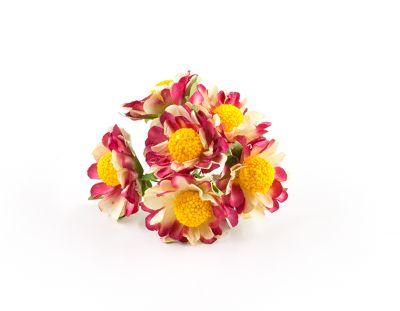 - Yapay Çiçek Papatya Kırmızı - Beyaz 72'li Paket
